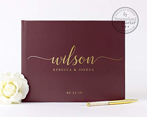 Burgundy and Gold Wedding Guest Book with Blank or Lined Pages, Personalized Photo Album or Journal - Hardcover (9x6 inches)