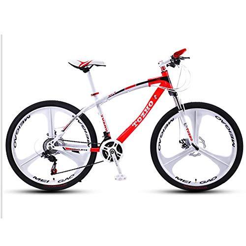 WXX 26 Pouces Haute en Acier au Carbone VTT avec Suspension Avant Siège réglable Fat Tire Hard Tail Double Shock Absorber City Mountain Bike,White Red,21 Speed