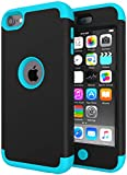 iPod Touch 7 Case for Boys, iPod Touch 6 Case, SLMY(TM) Heavy Duty High Impact Armor Case Cover Protective Case for Apple iPod Touch 5/6/7th Generation Black/Sky Blue
