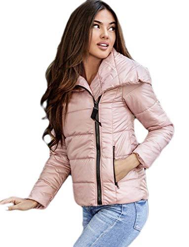 Selente #Fashionista Damen Jacke als praktische Übergangsjacke/leichte Winterjacke/Kurze Steppjacke in modischem Design ideal für Frühling und Herbst, Modell 4 Rosa, Größe XL