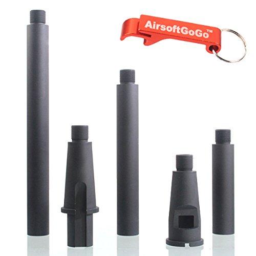4 Segments Ca?on externo 14mm CCW para Airsoft M4 / M4 / SR16 / SR25 Version Dual Purpose AEG & GBBR - AirsoftGoGo Llavero Incluido