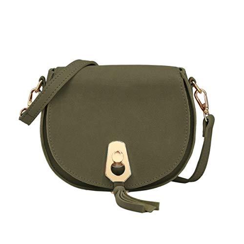 CRAZYCHIC - Damen Kleine Umhängetasche - Schultertasche Citytasche Wildleder PU - Clutch Abendtasche Handtasche - Franse Quaste Messenger Bag - Elegante Taschen - Khaki Grün