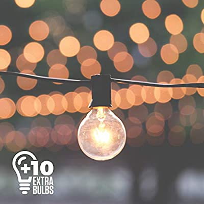 50ft Globe String Lights, 50 G40 Bulbs (+10 Extra), Connectable Indoor/Outdoor String Lights Perfect for Patios, Parties, Weddings, Backyards, Gazebos, Pergolas & More