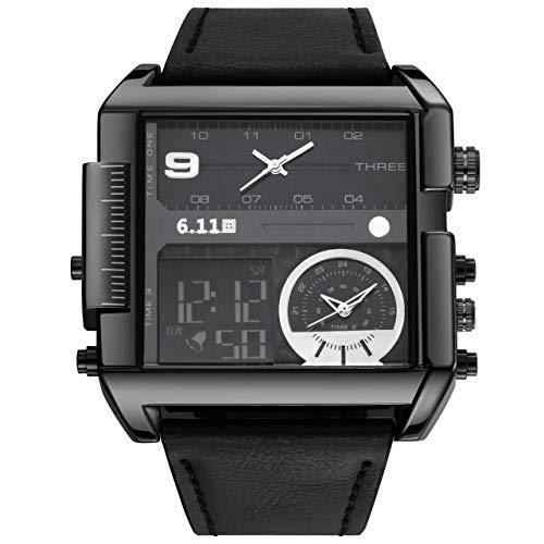 JSDDE Uhren Herren Armbanduhr LCD Digital+Quarz Dual Uhrwerk Echte Lederband Quarzuhr 3ATM Wasserdicht mit Kalender Datum Stoppuhr Fitness Armbanduhr (Schwarz-Schwarz Dial)