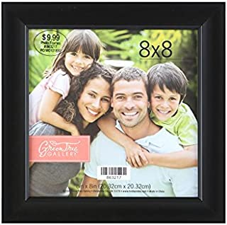 Green Tree Gallery Expression Scoop Photo Frame, Black Plastic, Inside Opening is 8 x 8 inches
