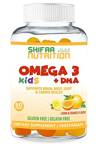 SHIFAA NUTRITION Halal, Vegan & Vegetarian Gummy Omega 3-6-9 + DHA for Kids | Supports Brain, Body and Immune Functions | Non-GMO & Free of Preservatives, Gluten, Peanuts, Dairy & Soy - 30 Servings