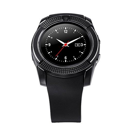 Generic ブルートゥースタッチスクリーンスマート腕時計アンドロイド携帯電話カメラホワイト - 黒