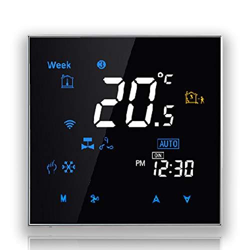 BecaSmart Series 3000 Termostato Inteligente Wi-Fi programable Cuatro Tubos para Aire Acondicionado Fan Coil con conexión WiFi para Soporte Intelligent Voice (Cuatro Tubos, Negro)