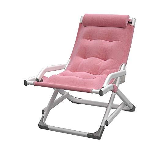 FUFU Deckchairs Außen-Terrassen-Metall-Schaukelstuhl, Moderne Wippstühle mit Kissen, Unterstützung 500 lbs für Veranda, Deck, Balkon oder Innernutzung Klappbar (Color : Pink)