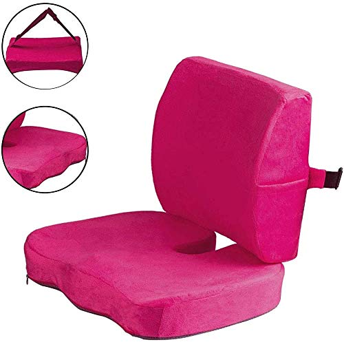 Seat Cushion Coccyx Orthopedic Memory Foam and Lumbar Support Pillow for Office Chair, Car, Wheelchair (Pink)