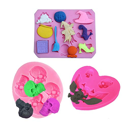 3pcs Wing Skull Witch Broom Pumpkin Bat Ghost High Heel Shoes Frog for DIY Cake Fondant Baking Tray 3D Hard Candies Drop Glue Decor Silicone Mold Tool