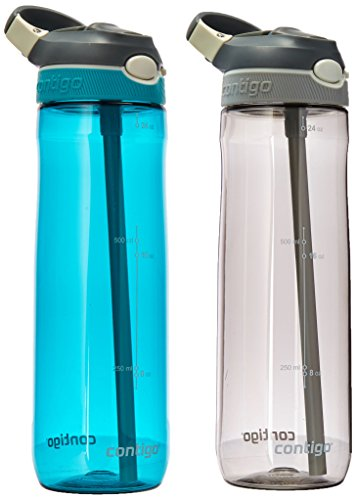Contigo AUTOSPOUT - Botella de agua con sorbete interno, Smoke & Scuba 2-Pack, Paquete-de-2, 1