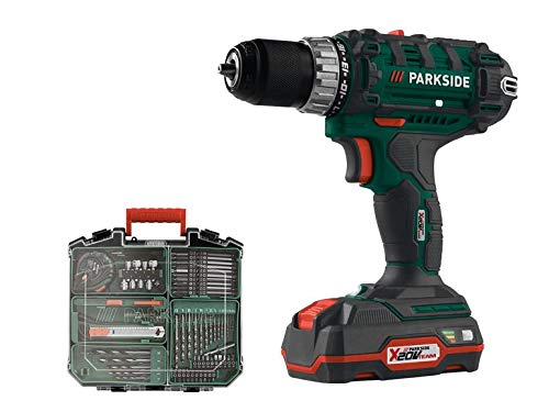 PARKSIDE Cordless Drill Driver X20V PABS 20-Li, with 2 Lithium-ion Batteries, 73-Piece Accessories, in a Carrying case