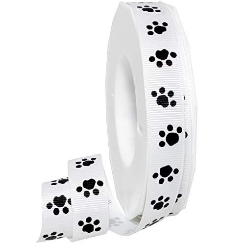Morex Precious Pets - Paws Ribbon, Grosgrain, 5/8 inch by 20 Yards, White