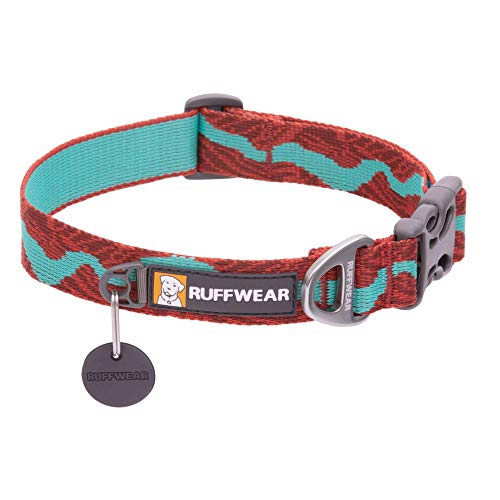 RUFFWEAR, Flat Out Dog Collar (Formerly Hoopie), Webbing Collar for Walking and Everyday Use, Colorado River, 14