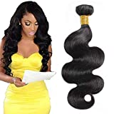 Selina Hair 8A Brazilian Body Wave Virgin Hair 1 Bundle 100g Remy Hair Unprocessed Human Hair Weave Natural Black Color Cheap Human Hair Can Be Dye (20 Inch,Black)
