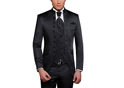 MMUGA Gehrock Herrenanzug Mao Kragen Anzug Schwarz 48