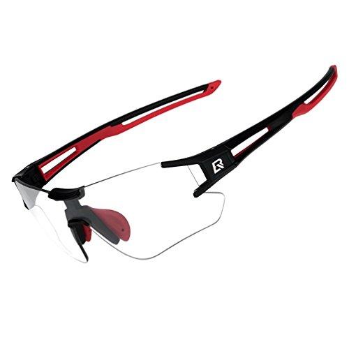 RockBros Cycling Sunglasses Photochromic Bike Glasses for Men Women Sports Goggles UV Protection Black Red