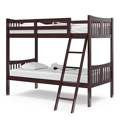 Storkcraft Caribou Solid Hardwood Twin Bunk Bed with Ladder and Safety Rail, Gray