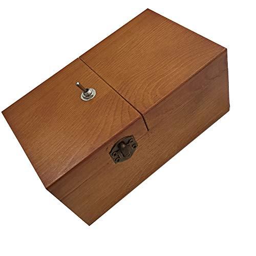 Faironly nutzlose Box aus Holz,schaltet sich selbst aus, nutzlose Box,komplett montiert,lustiges Spielzeug, Leave Me Alone,Maschine Echtholz-Schreibtisch-Dekoration für Weihnachten Neujahr Geschenke