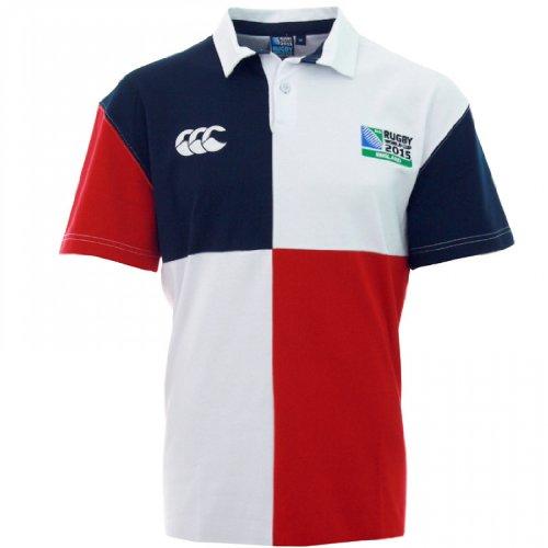 CANTERBURY Rugby World Cup 2015 Kinder Harlequin kurzärmeliger Rugby-Jersey, Weiß/Blau/Rot, 14 Jahre