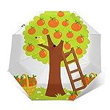 Paraguas Plegable Automático Impermeable Escalera para árboles de cítricos, Paraguas De Viaje Compacto a Prueba De Viento, Folding Umbrella, Dosel Reforzado, Mango Ergonómico