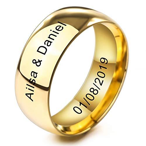 MeMeDIY 8mm Oro Dorado Tono Acero Inoxidable Anillo Ring Banda Venda Alianzas Boda Amor Love Talla Tamaño 22 - Grabado Personalizado