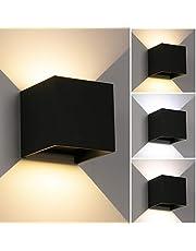 LED Wandlampen dimbaar Omhoog en omlaag Verstelbare lichtstraal Driekleurige wandlamp IP65 Waterdicht (zwart)