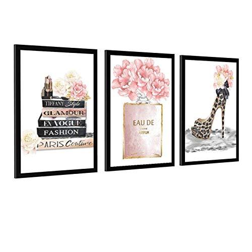 Póster de botella de perfume rosa con estampado de leopardo y tacones altos de lona con peonía y flores para decoración de la habitación de niña, estilo unframe-1 60 x 90 cm
