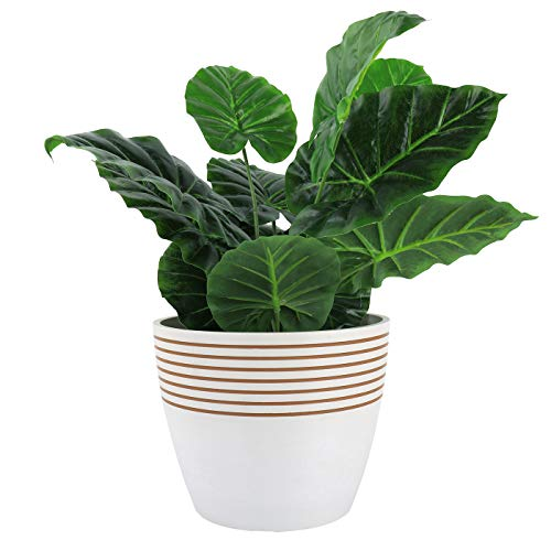 LA JOLIE MUSE Indoor Planter Flower Pot - Plant Pots for Indoor and Outdoor Plants, Contemporary Chic Planter with Stripe Pattern, 24cm, White & Almond