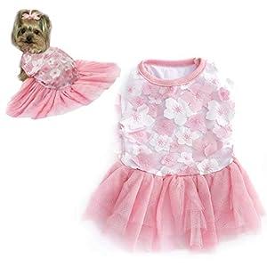 Petea Dog Dress Flower Tutu Gauze Skirt Cute Cake Camisole Princess Dress Pet Apparel Clothes for Dogs and Cats
