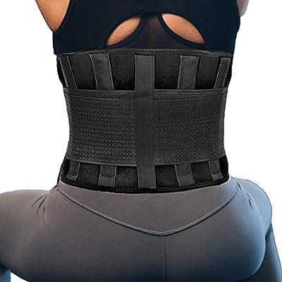 RiptGear Back Brace for Men and Women - Designed to Support Lower Back - Breathable Adjustable Anti-Skid Lumbar Support Belt (Black, Medium) from Radynt