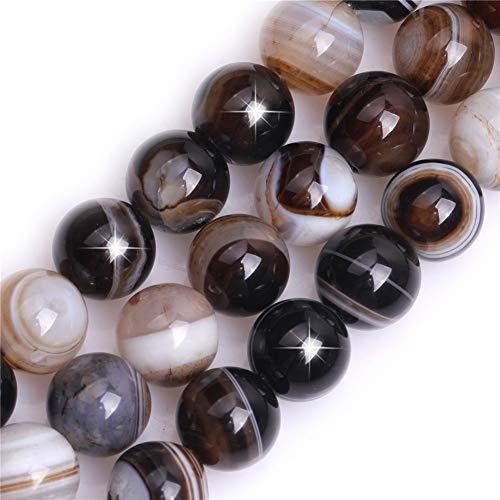 Natürlicher Kaffee Onyx Achat Edelstein Halbedelstein rund 12 mm lose Perlen für Schmuckherstellung DIY Armband Halskette Handwerk 38,1 cm