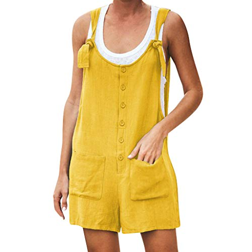 Monos de Mujer Cortos, SUNNSEAN, Color Sólido, Casual, Pantalón de Tirantes, con...