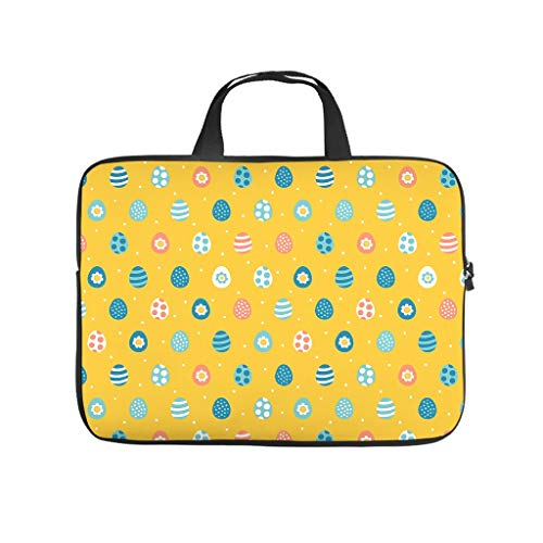 Happy Easter Colourful Eggs Orange Double Sided Printed Laptop Bag Protective Cover Dustproof Neoprene Laptop Bag Case Stylish Laptop Sleeve Case for Friends Family
