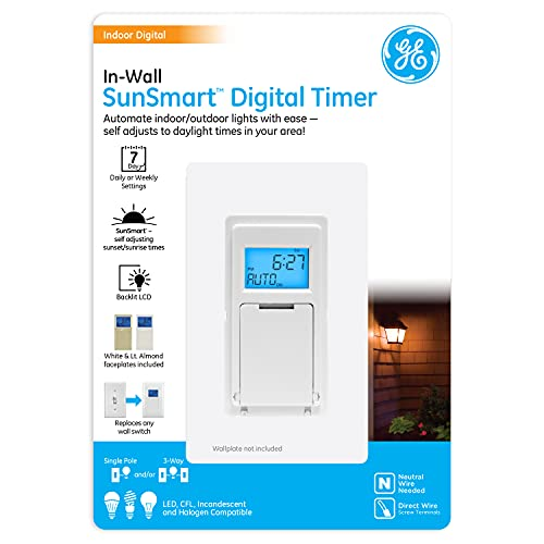 GE SunSmart in-Wall Digital Timer, Daily ON/Off Times, Programmable Settings, Sunset/Sunrise Presets, Vacation Security, White Almond Paddles Included, for Lights, Fans, Heaters 32787