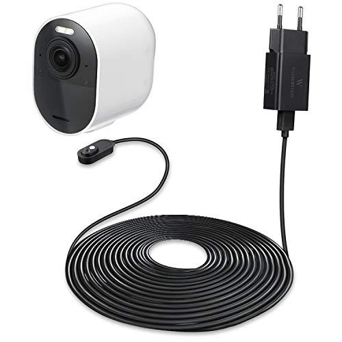 6 ft/1,8 m Indoor Magnet-Ladekabel mit Schnelllade-Netzteil kompatibel mit Arlo Ultra und Arlo Pro 3 - Ladekomfort für Ihre Arlo-Kamera (schwarz)