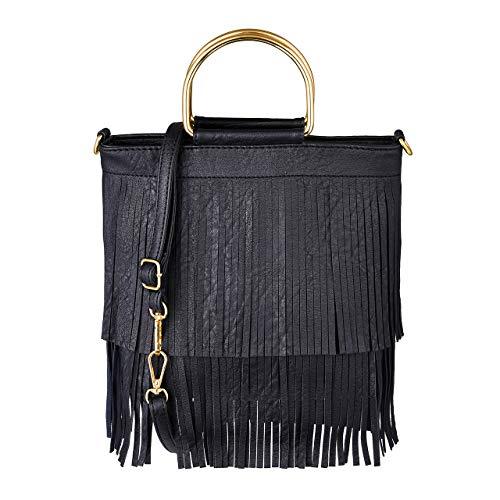 CHIC DIARY Damen Schultertasche Fransen Quaster Umhängetasche aus PU Leder Tasche Handtasche Shopper Beuteltasche (Schwarz)