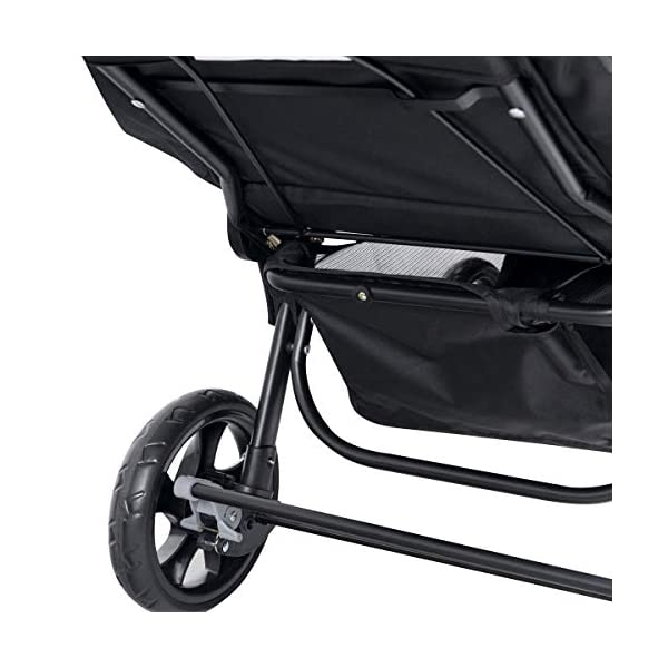GYMAX Double Seat Stroller with Adjustable Push Handle and Foot Rest, Detachable Canopy, Foldable Baby Pushchair Buggy for Traveling, Going Shopping, Hanging Out GYMAX ✔DOUBLE SEAT DESIGN: The baby Stroller has front and back seats for two babies which can free your hand and no need for cuddling the baby, you can take care of two babies together. ✔MULTIPLE ADJUSTABLE POSITION: There are four adjustable parts: handlebar, canopy, footrest and backrest, the thoughtful design allow you to set a suitable position in different condition and make baby feel comfortable without crying. ✔360°SWIVEL WHEELS WITH BRAKES: The front wheels with anti-shock function can go any direction, the rear wheels have a connector that can be braked in one step. 4