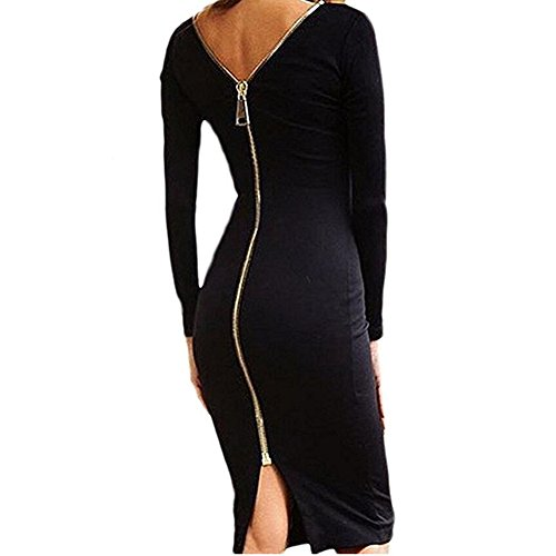 Donna Maniche Lunghe Abito - Eleganti Sexy Bodycon Abiti Matita Collo Rotondo Dress per Partito Sera Cerimonia Cocktail Nero M