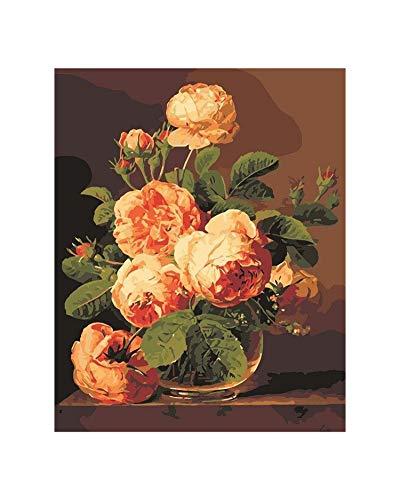 Cheryl Norri Blume DIY Ölgemälde durch Zahlen DIY Leinwand Auf der Wandmalerei Zeichnen Coloring nach Zahlen Kunst Bild moderner Hauptdekoration, andere Größen Tell Me Orange