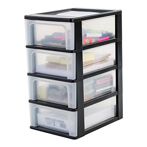 Iris Ohyama, Schubladenschrank / Schubladencontainer - Organizer Chest OCH-2004 - plastik, schwarz, 4 x 7 L, L35,5 x B26 x H49 cm