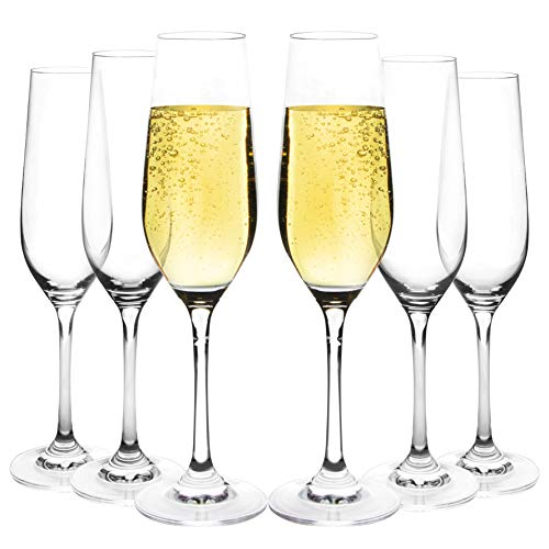 JEKOSEN Champagne Flutes Glasses Set of 6 Clear Crystal 100% Lead-Free Stemware Champagne Glass 8oz