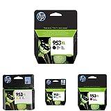 HP 953Xl Pack de 4 Cartouches d'Encre Noire/Cyan/Magenta/Jaune Grande Capacité Authentiques pour HP Officejet Pro 8710/8715/8720