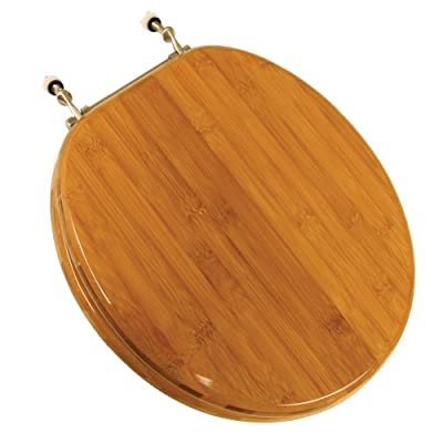 Comfort Seats Wood Round Toilet Seat with Brushed Nickel Hinges