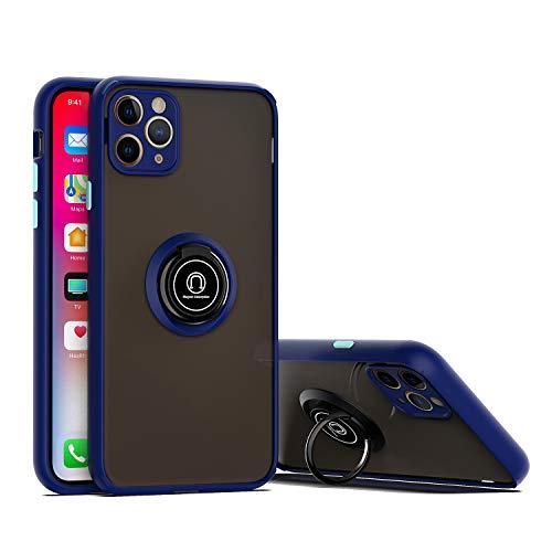 GOBY Coque iPhone 11 pro Case Slim Fit TPU avec Support de Bague Silicone Gel Anti Mince Placage Bumper Housse Lustre Métal 360° Bague Support Téléphone Voiture Etui (1)