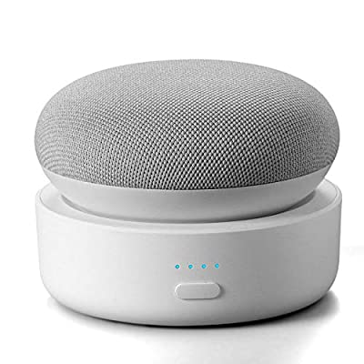 Portable Battery Base for Google Nest Mini Smart Speaker, GGMM N2 10000mAh Nest Mini Battery Base Stand with 20hrs Playtime, White(Nest Mini not Included) from GGMM