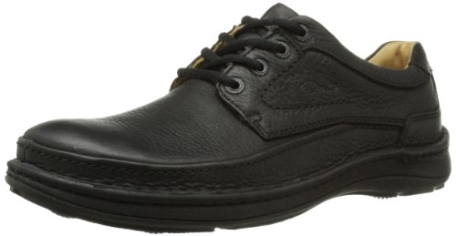 Clarks Nature Three - Zapatos con cordones Derby para hombre, Black Leather, 44