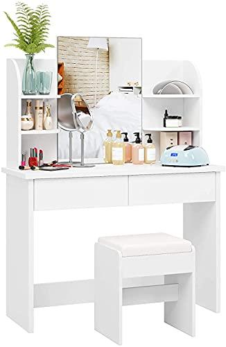 Blackzebra Coiffeuse Table à Cosmétiques Meuble Maquillage Table avec Tabouret 38,5x30x45cm Commode avec Miroir 6 Étagère 2 Tiroirs Blanc 107x40x142cm