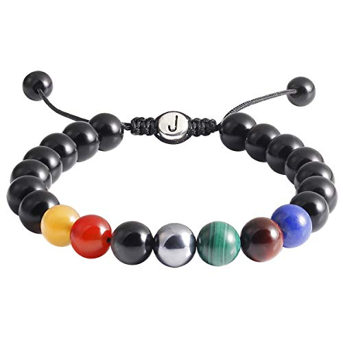 Jewboo Obsidian 7 Chakras Bracelet Onyx Natural Energy Yoga Healing Crystals Beads Adjustble Bangle for Women Men